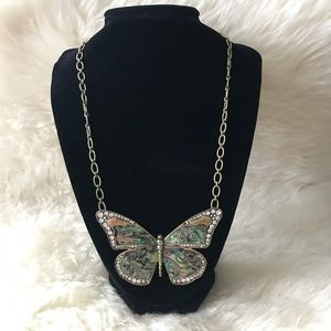 Fossil Abalone Shell Butterfly Necklace